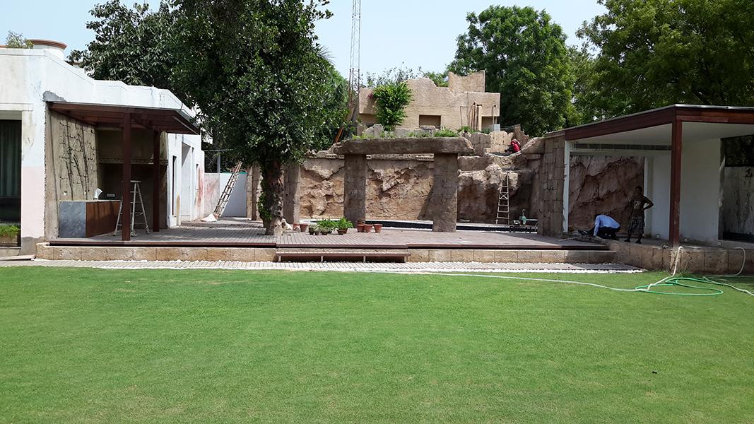 Residencial - Tematización zona de piscina y muro con cascada